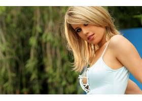 人,金发,内衣,看着观众,户外的女人,长发,模特,美女3670