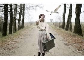 人,美女,黑发,户外的女人,鸟类,手提箱,动物,树木33843