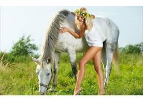 人,马,塔利亚樱桃,美女,金发,腿,动物,户外的女人,模特3952