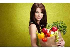 人,美女,黑发,水果,袋,模特,微笑,简单的背景4758