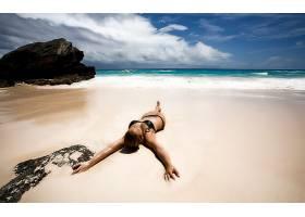 人,美女,黑发,海滩,比基尼泳装38265