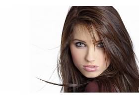 人,美女,黑发,简单的背景,看着观众,白色背景,长发,面对16703