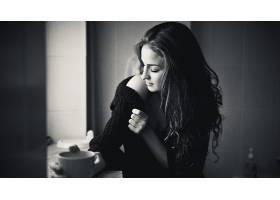 人,黑发,美女,单色,长发,咖啡,毛线衣,分裂,杯子33243