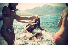 人,黑发,美女,比基尼泳装,海,珊瑚礁小姐,礁日历,一群美女28154