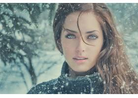人,美女,黑发,面对,绿眼睛,模特,看着观众,雪,莎拉阿拉格,冬季,Ji