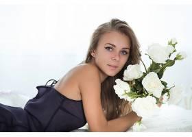 人,达纳P,Femjoy杂志,蓝眼睛,花卉,美女,金发,白色背景,长发,模特