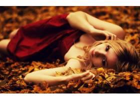 人,过滤,模糊,美女,金发,红色礼服,户外的女人,树叶,秋季64894