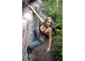 人,运动文胸,攀岩,金发,分裂,张开双腿,性质,胸部,运动,美女,户外