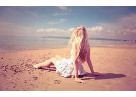人,美女,金发,海滩,砂,长发,户外的女人,景深,模特,连衣裙,白色礼