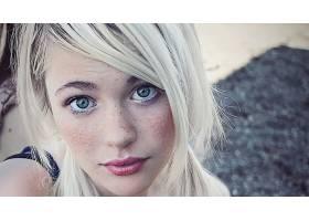 人,德文翡翠,美女,金发,雀斑,口红,绿眼睛,面对,看着观众5207