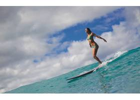 人,美女,冲浪板,比基尼泳装,海,天空,云,冲浪者,闭着眼睛,模特,户