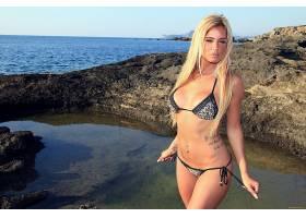 人,美女,游泳衣,黥,刺穿肚脐,户外的女人,金发,海,模特54928