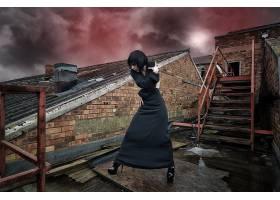 人,美女,户外的女人,天空,数字艺术,屋顶,楼梯,高跟鞋18131