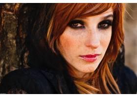 人,红发,美女,雀斑,面对,棕色的眼睛,模特,户外的女人,Vica Kerek