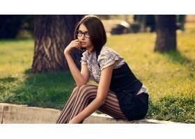 人,美女,户外的女人,模特,眼镜,黑发43421