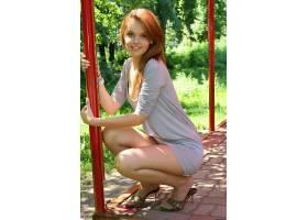 人,红发,户外的女人,蹲,美女,迷你裙39886