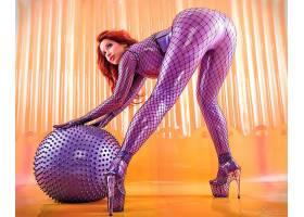 人,红发,比安卡Beauchamp,胶乳,屁股,高跟鞋,美女,模特,球,弯腰89