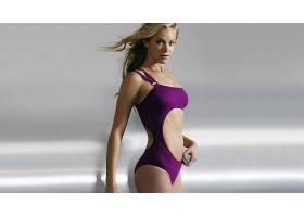 人,美女,模特,游泳衣,金发,看着观众,简单的背景,长发,克里斯汀娜