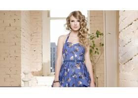 人,泰勒斯威夫特,名人,金发,歌手,连衣裙,蓝色连衣裙,窗口,卷发,