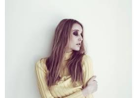 人,美女,恩雅Bakunova,白色背景,简单的背景,长发,望着远处,模特2