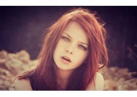 人,红发,美女,张开嘴,面对,模特,户外的女人68394