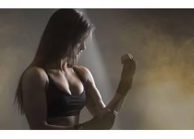 人,枯瘦,美女,黑色的衣服,黥,黑发,锻炼,MMA,拳击,运动文胸,黑发,