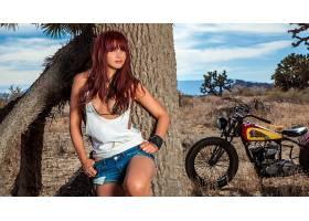 人,美女,双手放在臀部,前刘海,摩托车,户外的女人,模特,维罗尼卡