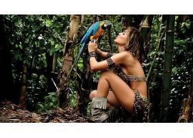 人,美女,模特,鸟类,比基尼泳装,户外的女人,鹦鹉,sideboob,丛林,