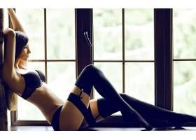 人,美女,吊袜腰带,Delia Tudose,黑发,女用贴身内衣裤,黑色内衣,