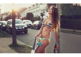 人,比基尼泳装,大众途锐,滑板,大卫奥卡尼,城市的,美女,户外的女