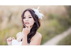 人,美女,模特,黑发,长发,亚洲,户外的女人,棕色的眼睛,张开嘴,白