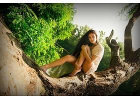 人,美女,模特,黑发,长发,红色的指甲,腿,户外的女人,性质,树木373