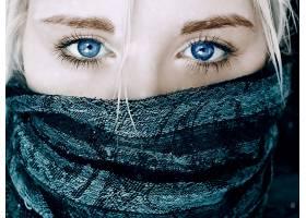 人,美女,围巾,蓝眼睛,白色的头发,蓝色,面具,眼睛,面对,金发,特写