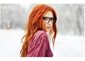 人,眼镜,红发,苍白,美女,户外的女人,雪,模特,长发,黑眼睛,Ebba Z