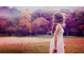 人,美女,望着远处,过滤,户外的女人,摄影,秋季,连衣裙,在户外4124