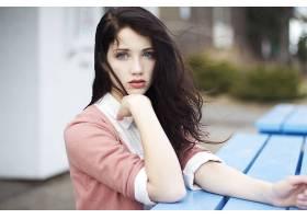 人,美女,Emily Rudd,黑发,蓝眼睛,面对,看着观众,在头上的手,长发