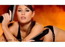 人,美女,枪,艾莉森卡罗尔,劳拉克罗夫特,黑发,比基尼泳装,有枪的