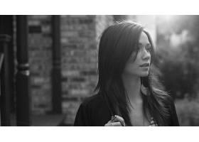 人,梅根林恩,模特,美女,黑发,面对,单色,户外的女人,黑发14062