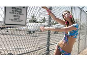 人,美女,比基尼泳装,金发,肚皮,模特,篱笆,闭着眼睛,户外的女人72