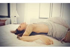 人,模特,亚洲,卧室,躺着,黑发,裸露的肩膀,床,美女,在床上67792