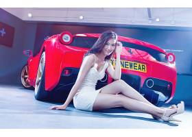 人,模特,亚洲,汽车的美女,红色的汽车,白色礼服,车辆,法拉利,微笑