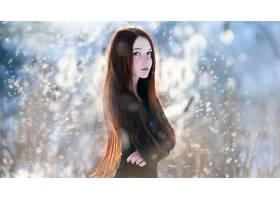 人,美女,红发,雀斑,景深,风,蓝眼睛,长发,看着观众,面对,雪花1781