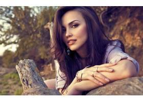 人,美女,模特,Alesiya Demirova,黑发,嘴唇,眼睛,张开嘴,首饰,木,
