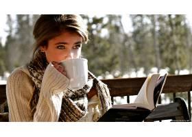 人,模特,冬季,美女,图书,杯子,户外的女人,泰勒山6115