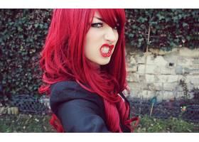 人,模特,冲孔,Niky Von Macabre,美女,红发,洛丽娜绿色65682