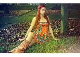 人,红发,卡罗琳凯特,美女,户外的女人,靴子,长发,模特36971