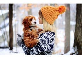人,狗,美女,帽子,橙子,羊毛帽子,毛线衣,动物,金发16336