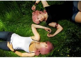 人,粉色的头发,美女,户外的女人,草,模特,微笑61970