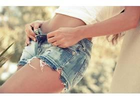 人,模特,短裤,解开,白色的上衣,牛仔短裤,手,美女67859