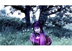 人,紫色的头发,树木,性质,围巾,媚娃,美女,户外的女人,模特5423
